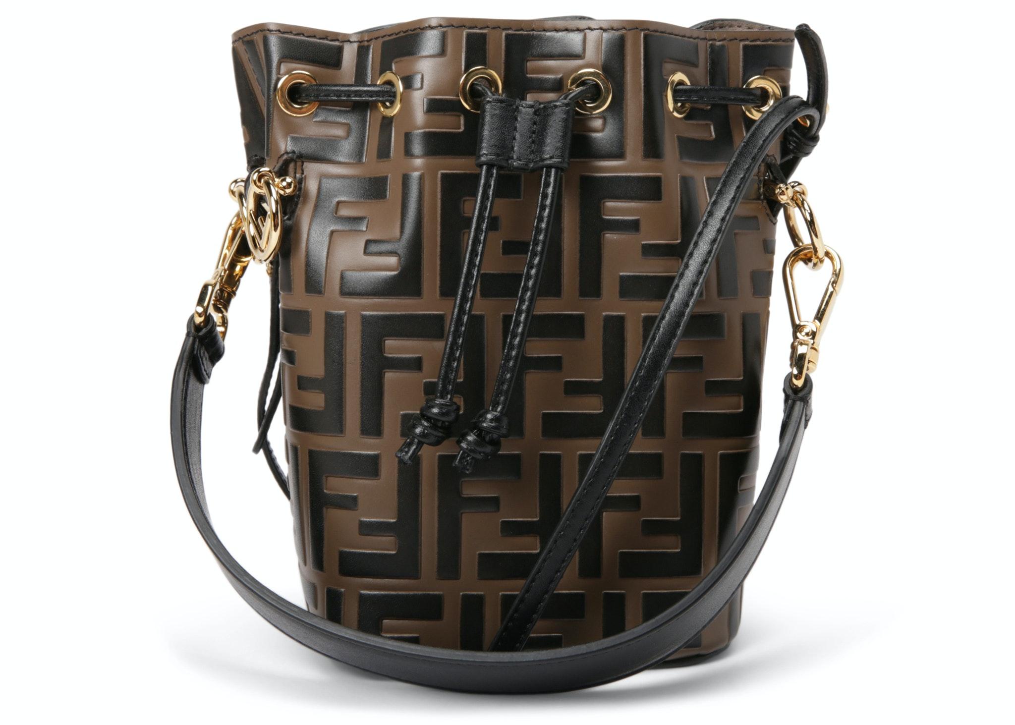 Fendi Mon Tresor Bucket Bag Zucca Embossed Small Tobacco Black
