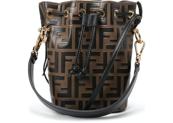 9cf71646329 Fendi Mon Tresor Bucket Bag Zucca Embossed Small Tobacco Black