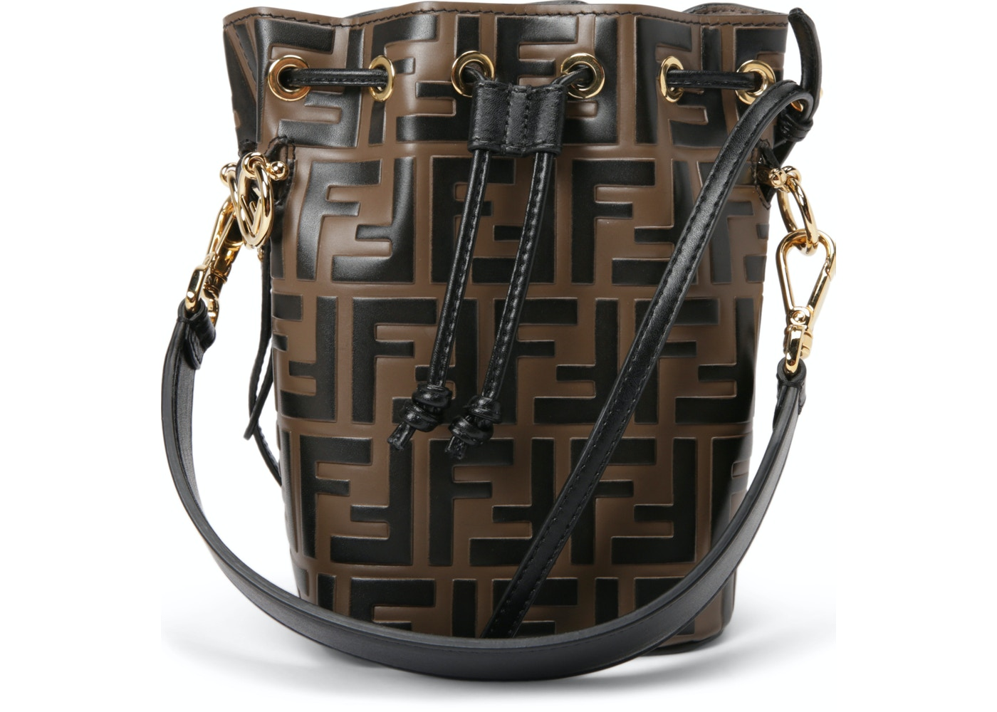 bf8516ec473b Fendi Mon Tresor Bucket Bag Zucca Embossed Small Tobacco Black. Zucca  Embossed Small Tobacco Black