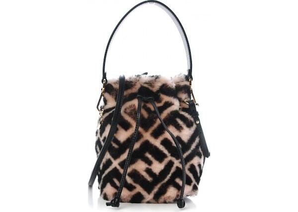 8ac18873ee21 Fendi Mon Tresor Bucket Bag Zucca Shearling Mini Pink Black