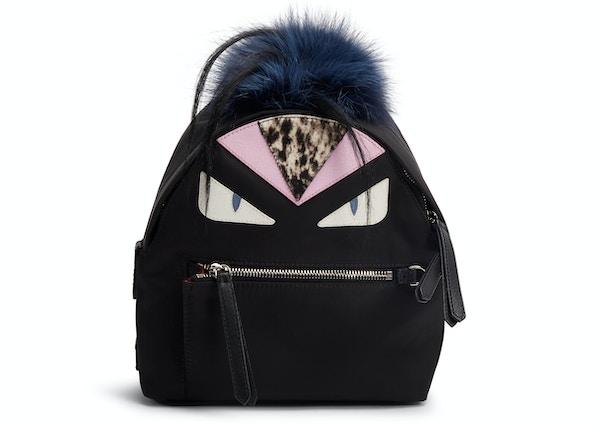 ca0f7ab21 Fendi Monster Backpack Fur Vitello Nylon Mini Black