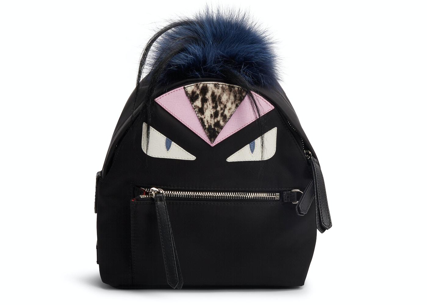 f82aa248f4cb Fendi Monster Backpack Fur Vitello Nylon Mini Black