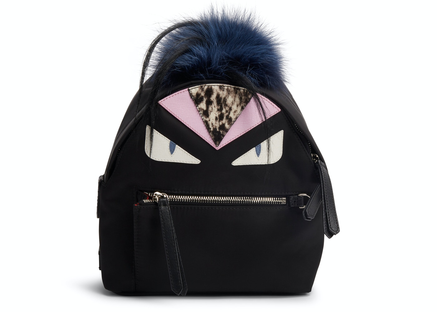 1cc9c83e Fendi Monster Backpack Fur Vitello Nylon Mini Black