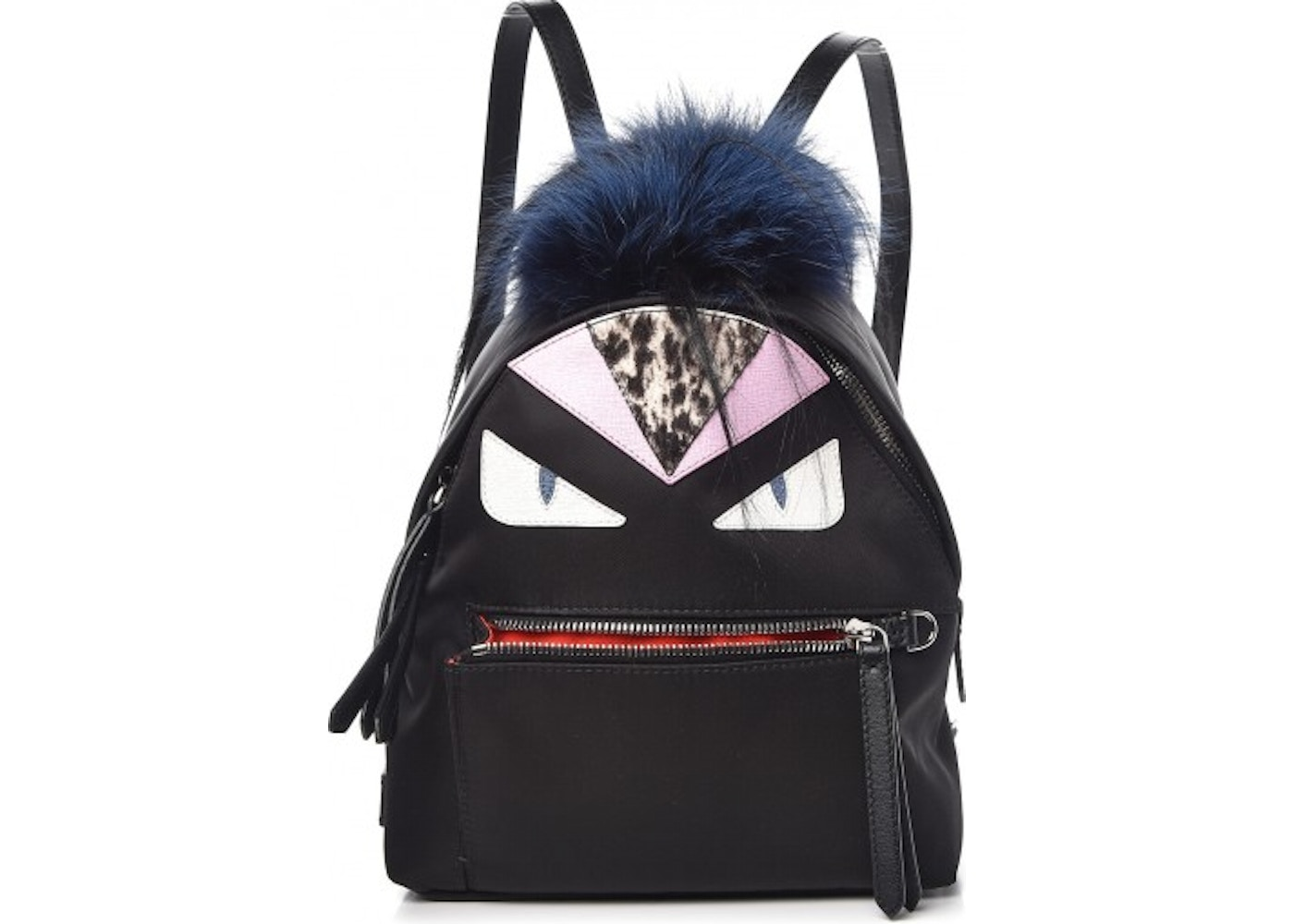 Fendi Monster Backpack Fur Vitello Nylon Mini Black 06cc04dbe83d1