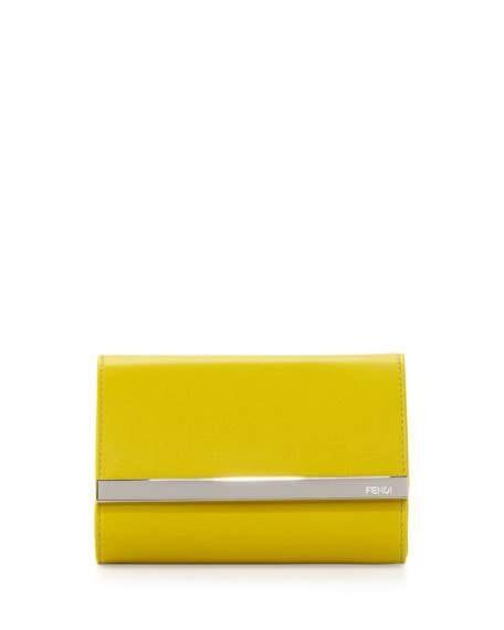Fendi Rush Clutch Fendi Logo Bar Mini Yellow
