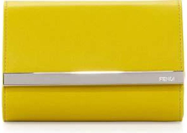 c68be2fbe254 Fendi Rush Clutch Fendi Logo Bar Mini Yellow