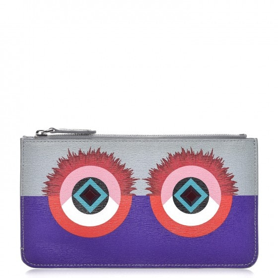 Fendi Vitello Elite Zip Pouch Monster Grey Purple