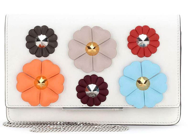 Fendi Wallet Floral-Studded Chain White Multicolored
