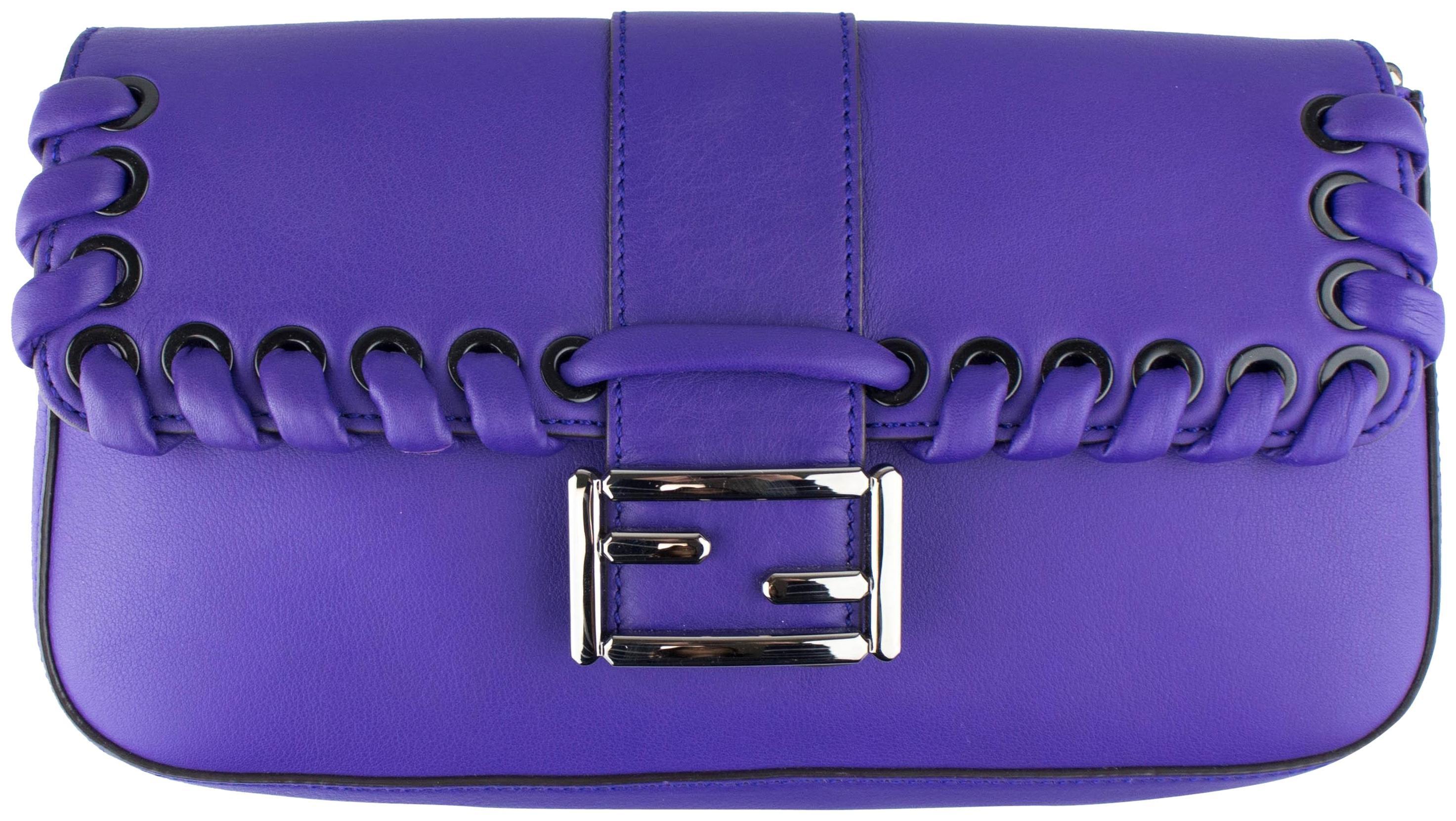 Fendi Weave Baguette Shoulder Purple