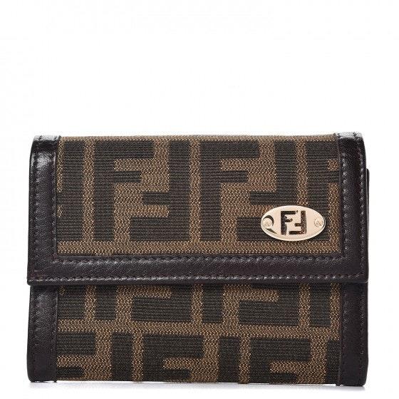 Fendi Zucca Flap Wallet Monogram Brown