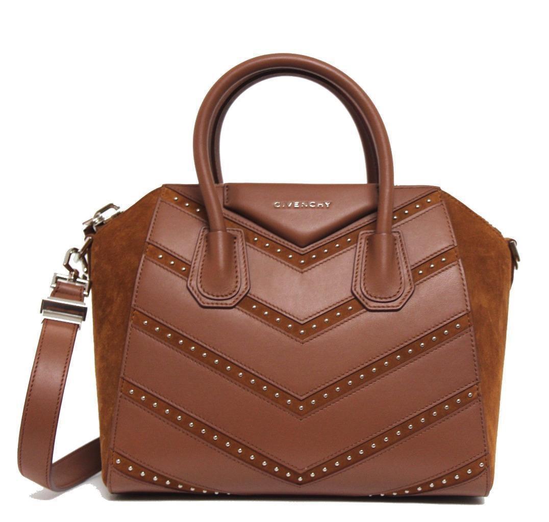 Givenchy Antigona Top Handle Chevron Studded Small Cognac