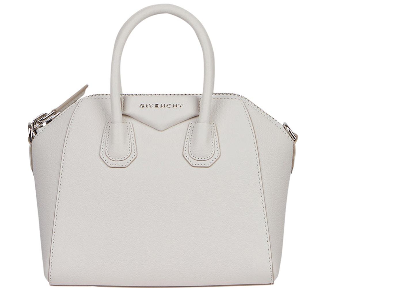 3458964804 Givenchy Antigona Tote Grained Leather Silver-tone Mini White