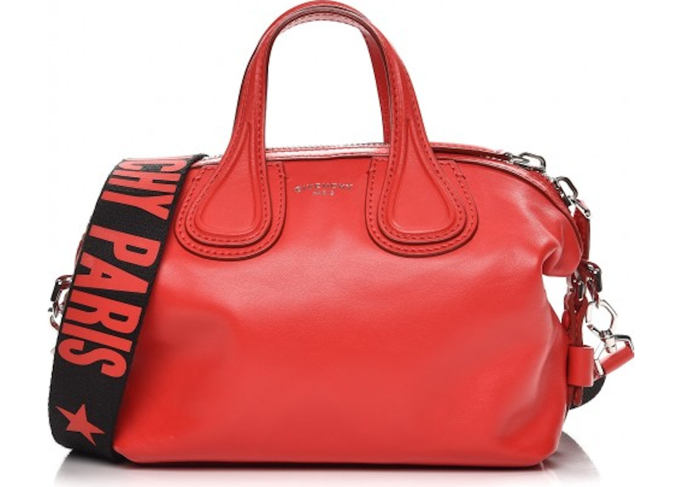 Givenchy Nightingale Tote Logo Print Strap Waxed Micro Medium Red. Logo  Print Strap Waxed Micro Medium Red 80266837625d0