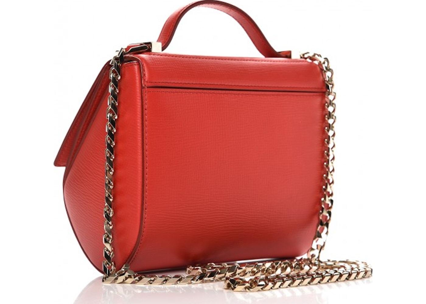 0490c941c38 Givenchy Pandora Box Crossbody Chain Textured Mini Medium Red