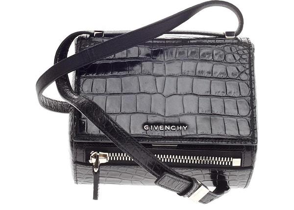 b762fbb3edb Givenchy Pandora Box Messenger Crocodile Embossed Mini Black
