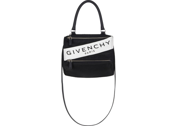 dd78ab2a6d3 Givenchy Paris Band Pandora Bag Nylon Silver-tone Small Black/White