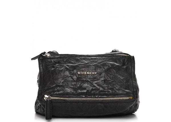 Givenchy Pepe Pandora Messenger Tumbled Sheepskin Gold-Tone Mini Black e45a418c2ca4f