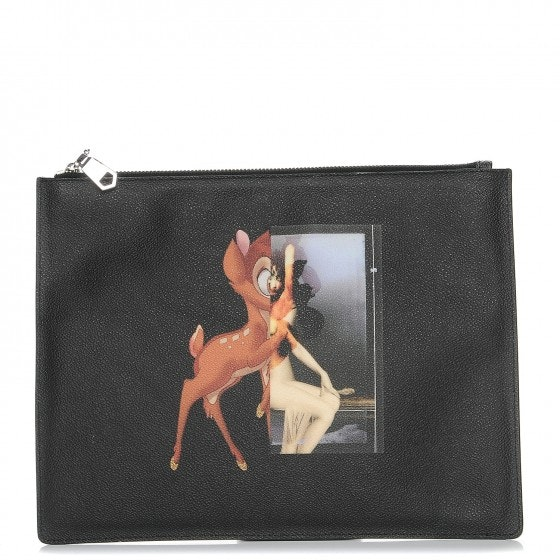 Givenchy Cosmetic Pouch Bambi Print Textured Medium Black
