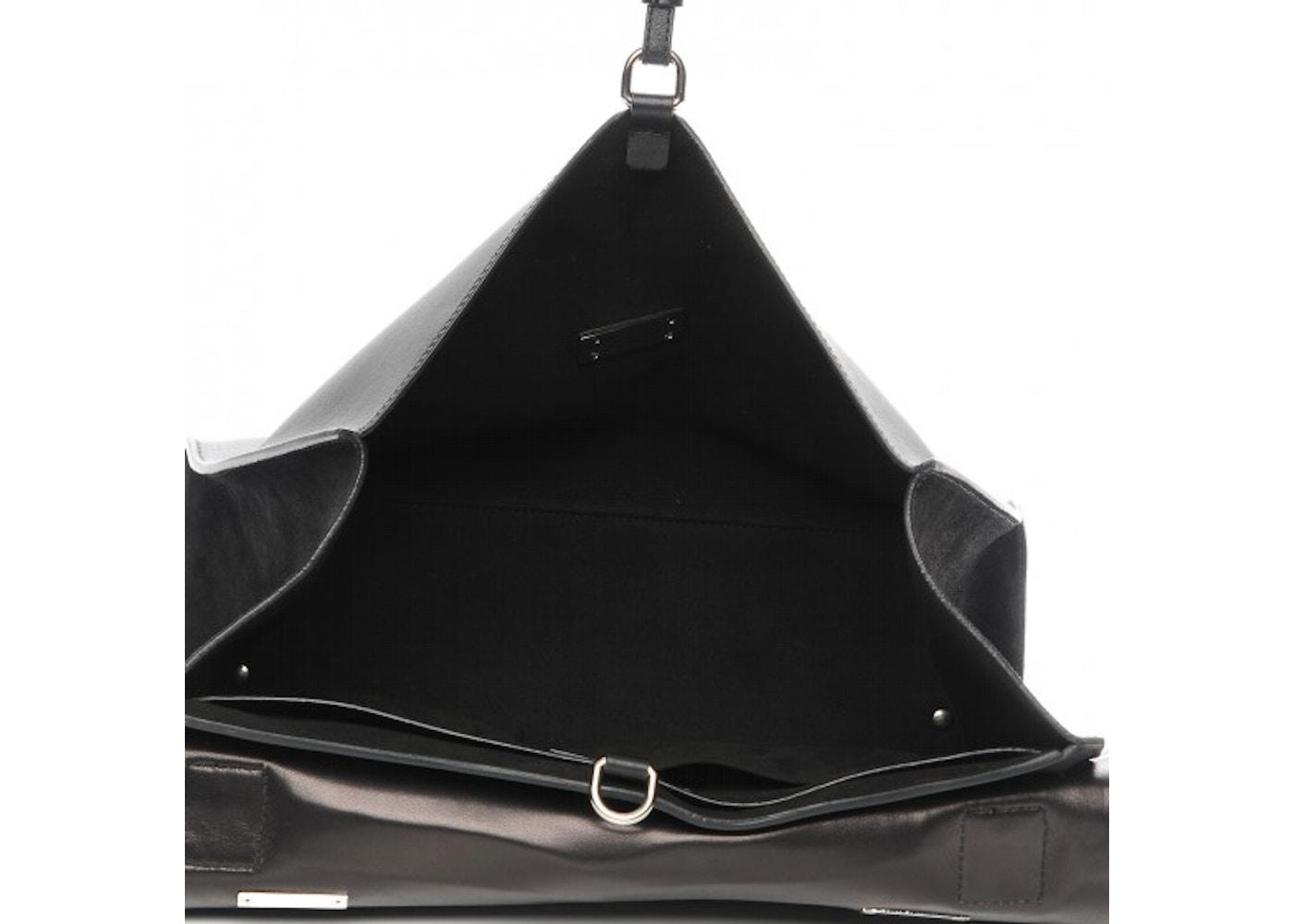 60a2bed72cc Givenchy Shark Lock Satchel Croc Stamped Calfskin Large Black