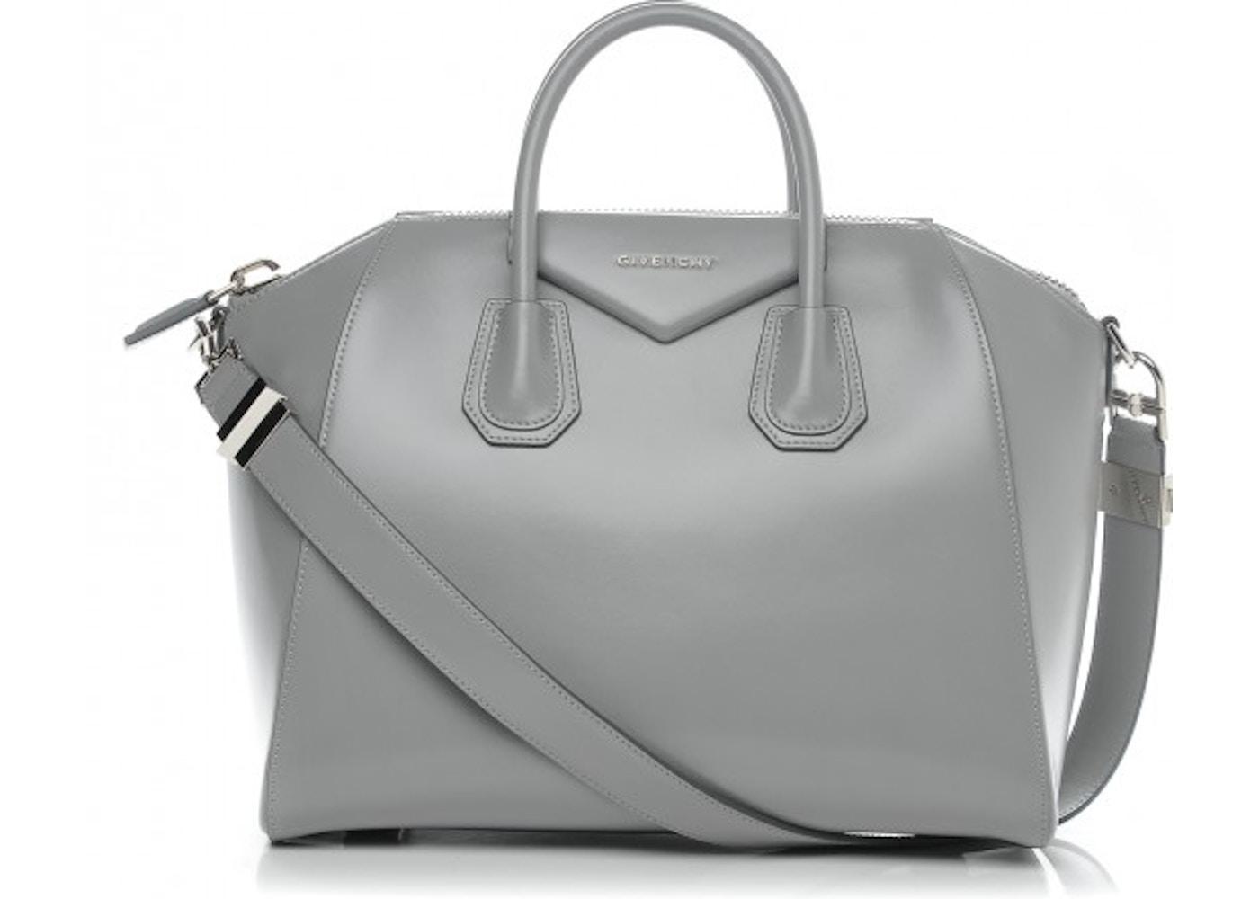 7eb11b1829 Givenchy Antigona Tote Shiny Lord Calfskin Medium Pearl Grey