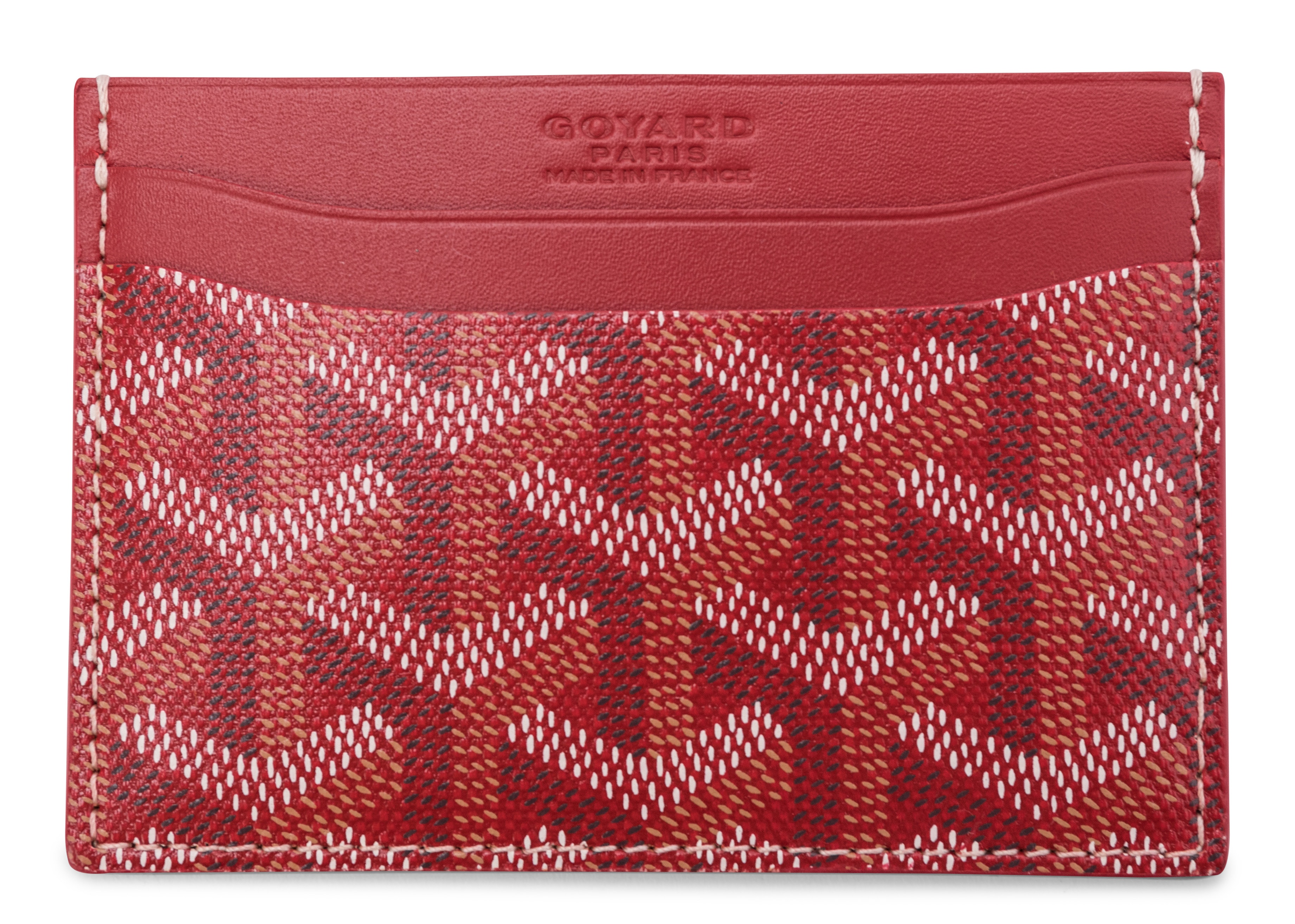 Goyard Saint Sulpice Card Holder Monogram Chevron Multicolor Red