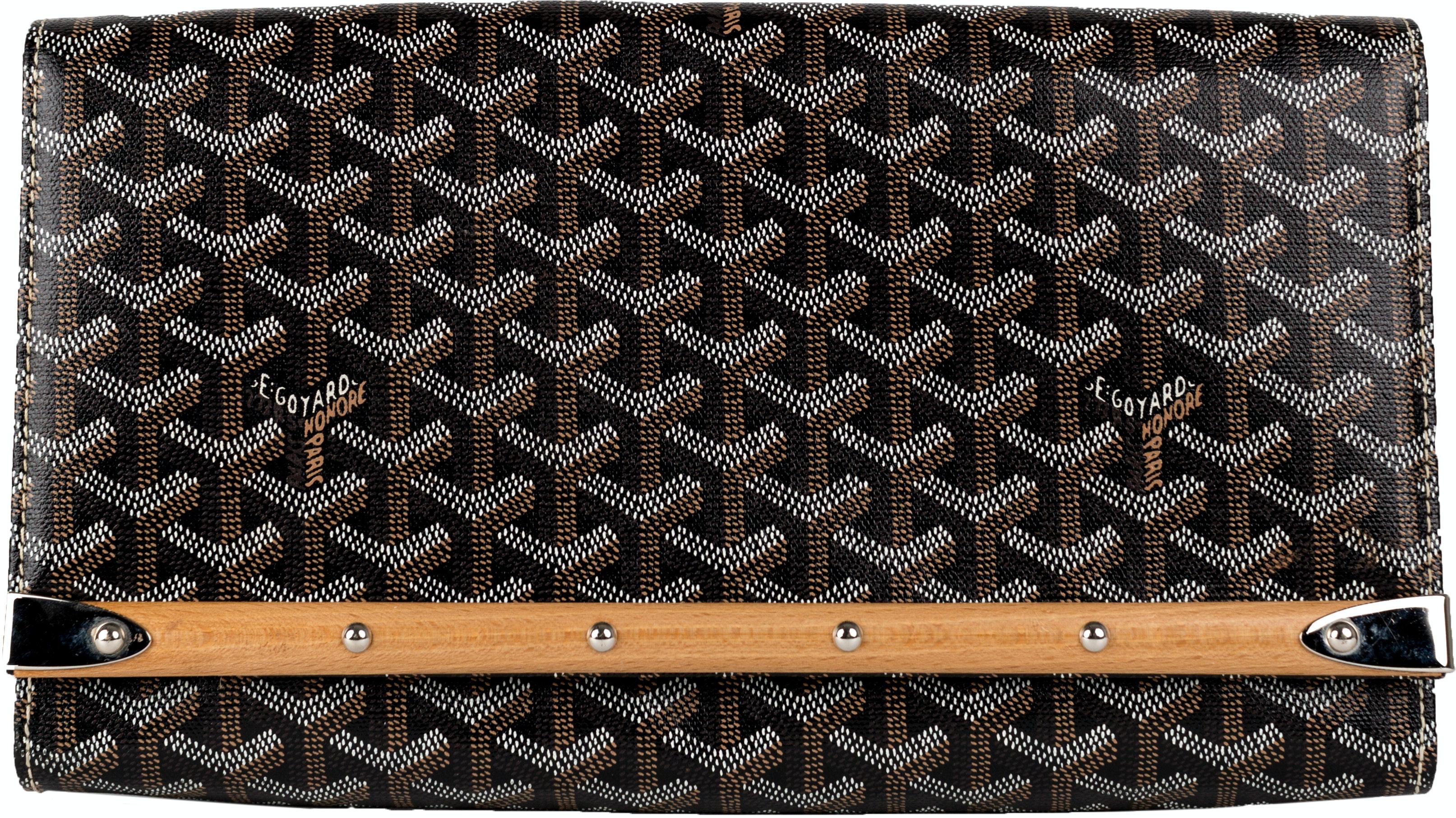 Goyard Monte Carlo Clutch Monogram Chevron Wood Trim Black