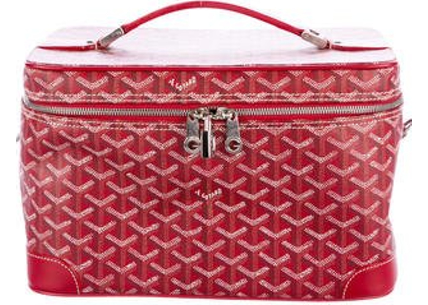 Goyard Ile De Beaute Cosmetic Bag Monogram Chevron Multicolor Red 1085e11158bfe