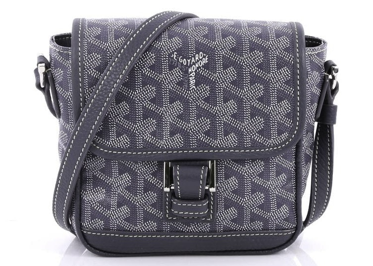 Goyard Grand Bleu Messenger Monogram Chevron PM Greyis Blue
