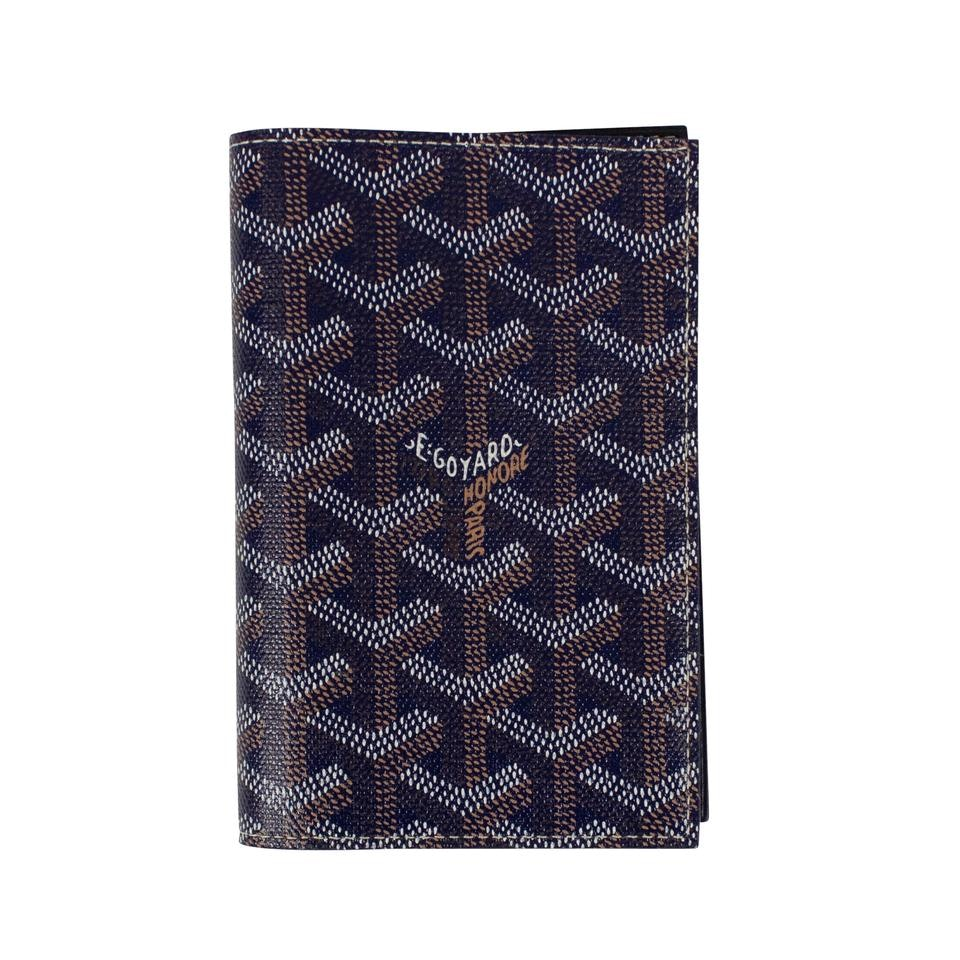 Goyard Grenelle Passport Holder Chevron Navy