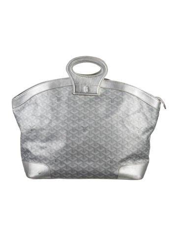 Goyard Beluga Handbag Monogram Chevron Metallic MM Silver
