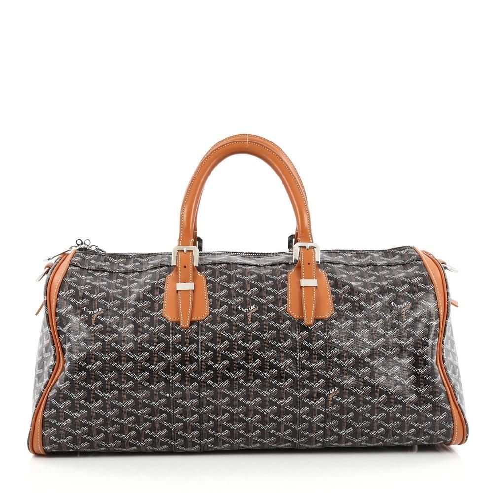 Goyard Croisiere Handbag Monogram Chevron 50 Brown/Black/White