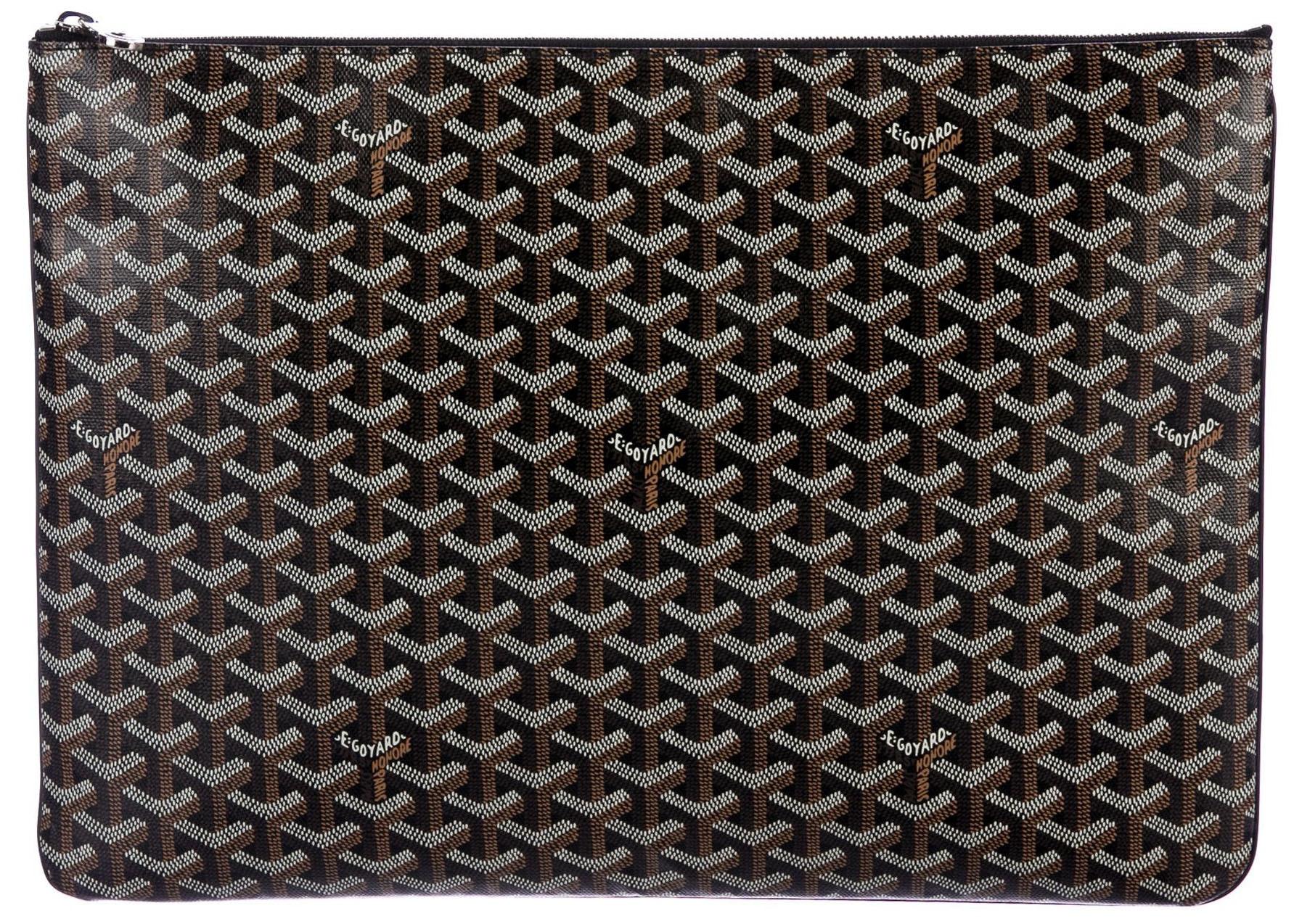 Goyard Senat Pouch Monogram Chevron GM Black