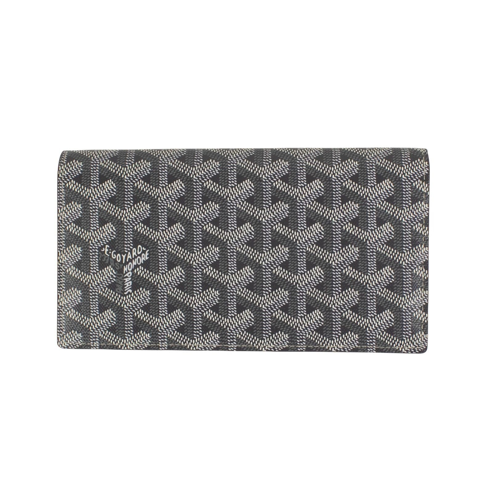 Goyard Richelieu Wallet Chevron Coated Canvas Gray