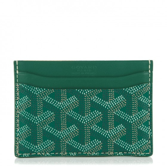 Goyard Saint Sulpice Card Case Chevron Green