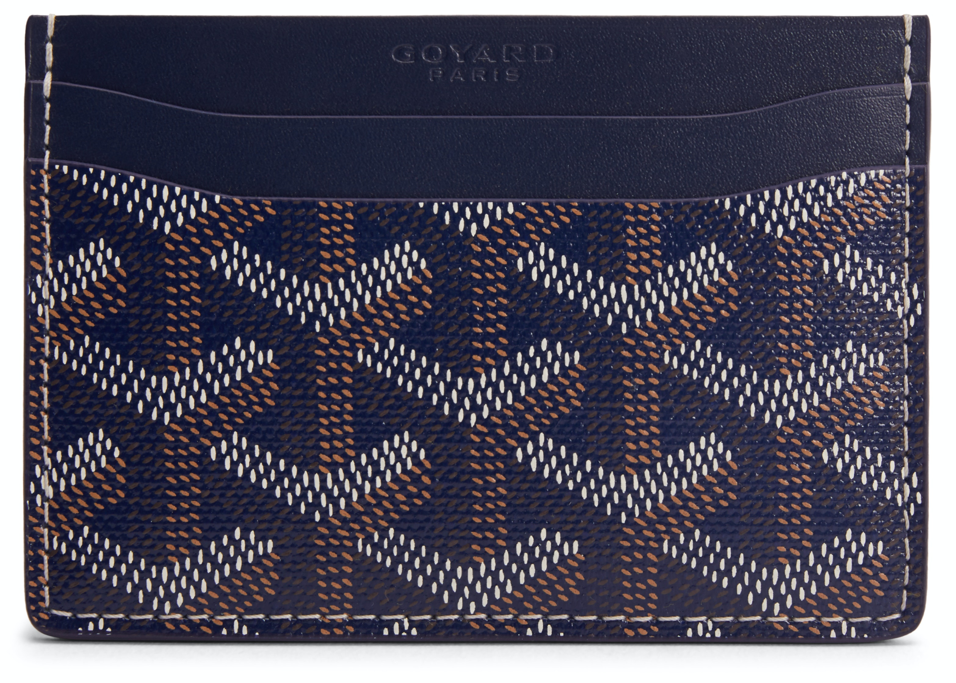 Goyard Saint Sulpice Card Holder Monogram Chevron Navy