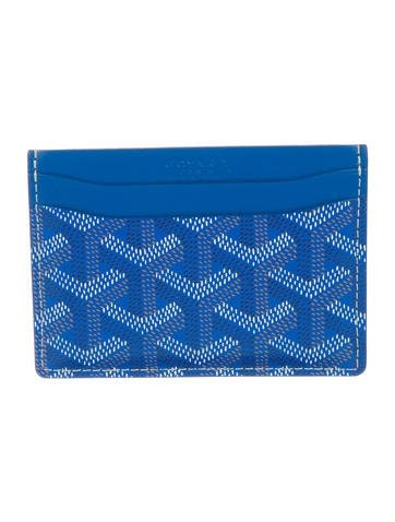 Goyard Saint Sulpice Card Holder Chevron Royal Blue