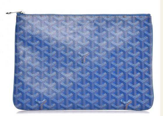 Goyard Senat Pochette Monogram Chevron MM Sky Blue