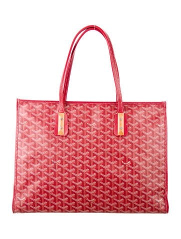 Goyard Marquises Tote Monogram Chevron Wood accents Red