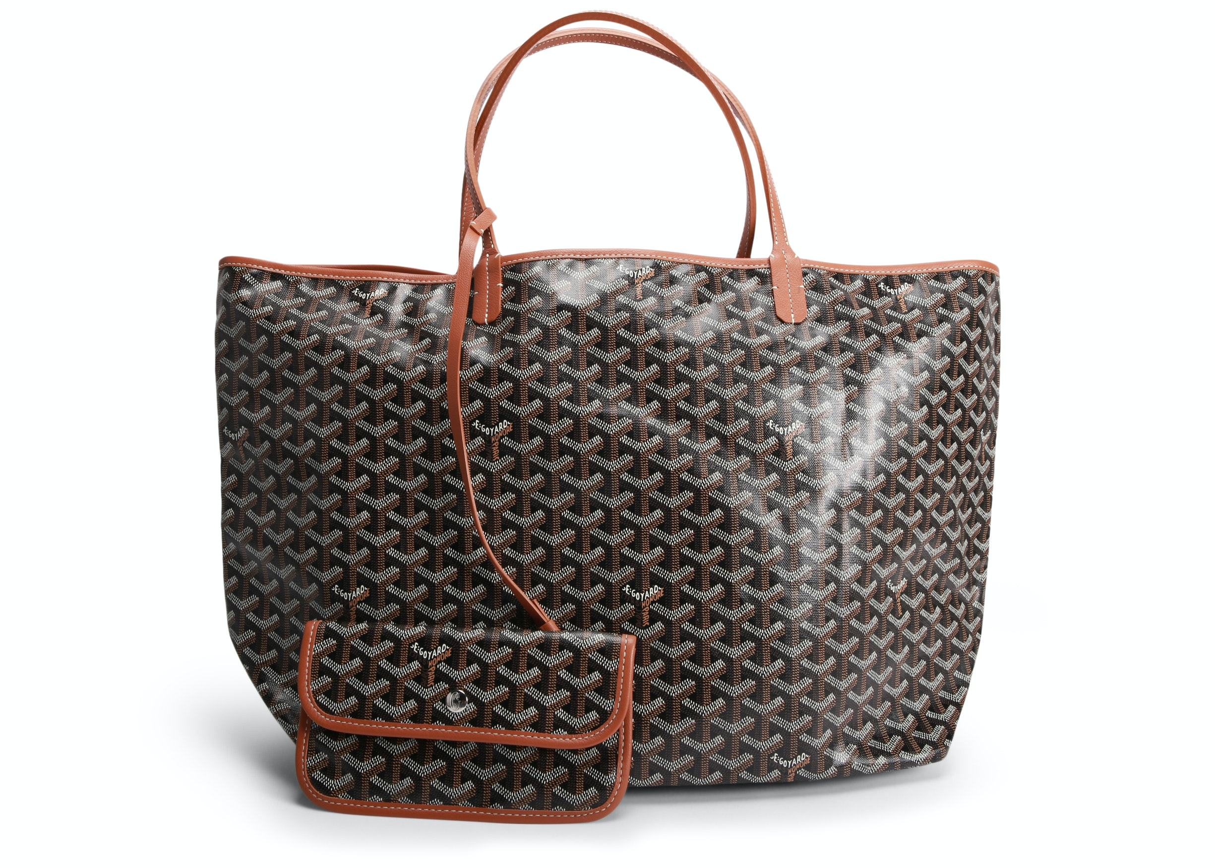 Goyard St. Louis Tote Monogram Chevron Multicolor GM Brown (With Pouch)