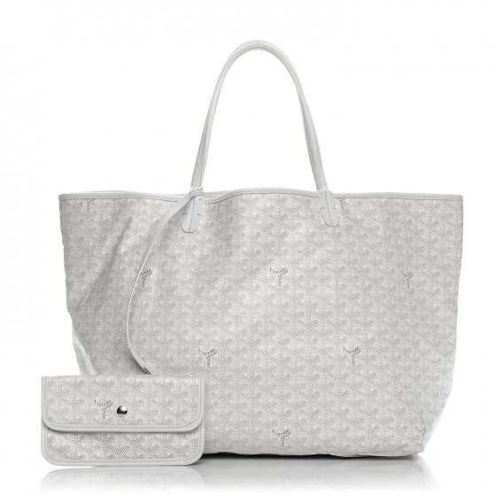 Goyard Saint Louis Tote Monogram Chevron GM White
