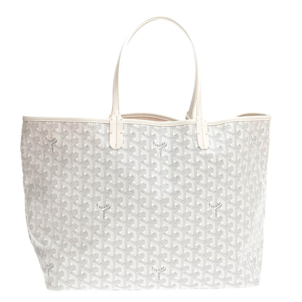 Goyard Saint Louis Tote Monogram Chevron PM White/Grey