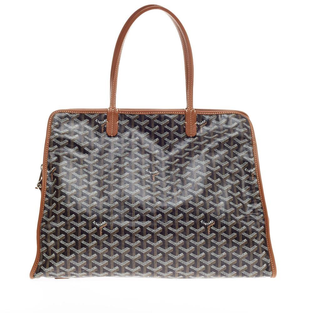 Goyard Hardy Pet Carrier Travel Bag Monogram Chevron PM Black/Brown
