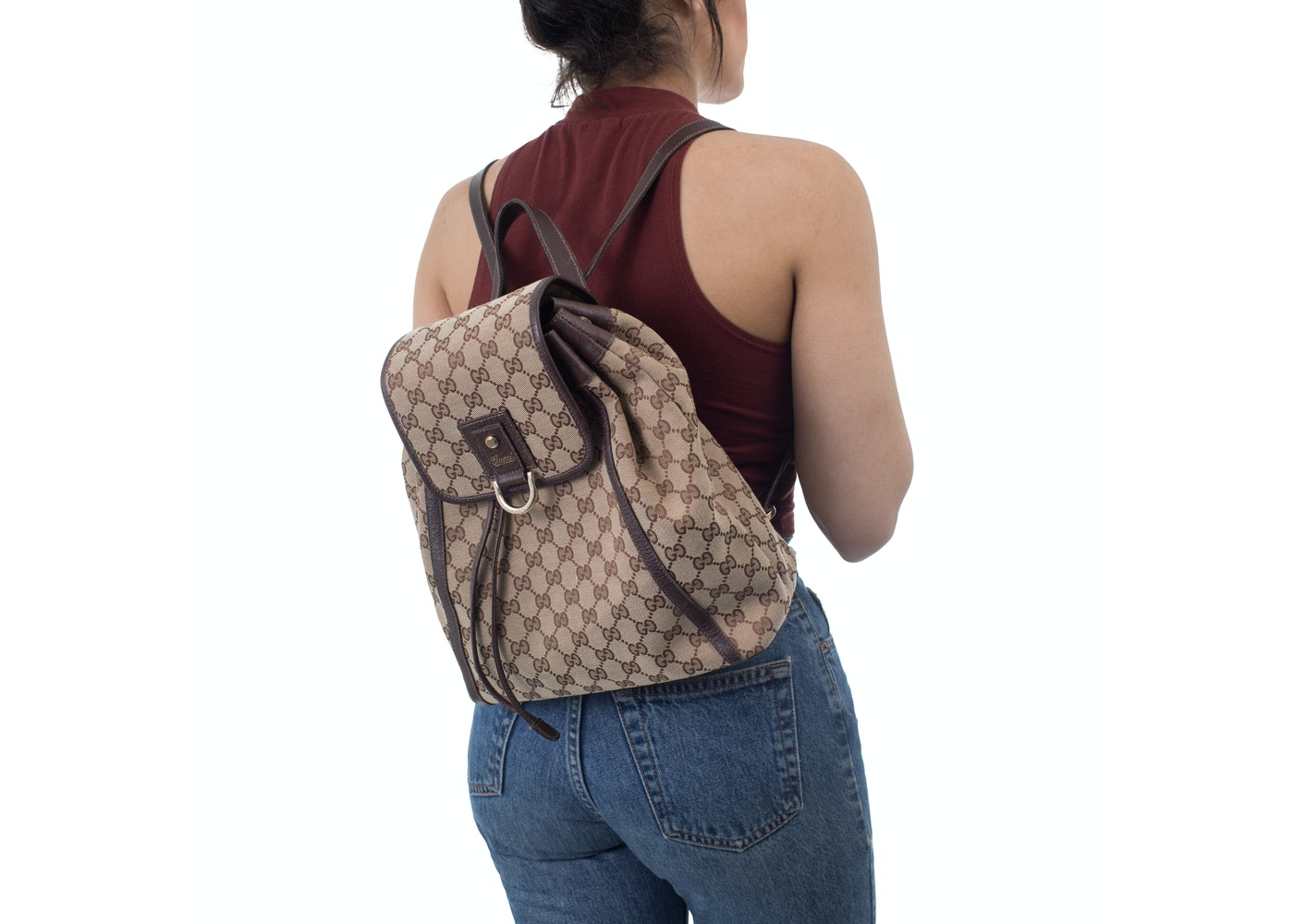 0879ccbd33a934 Gucci Abbey Backpack GG Brown