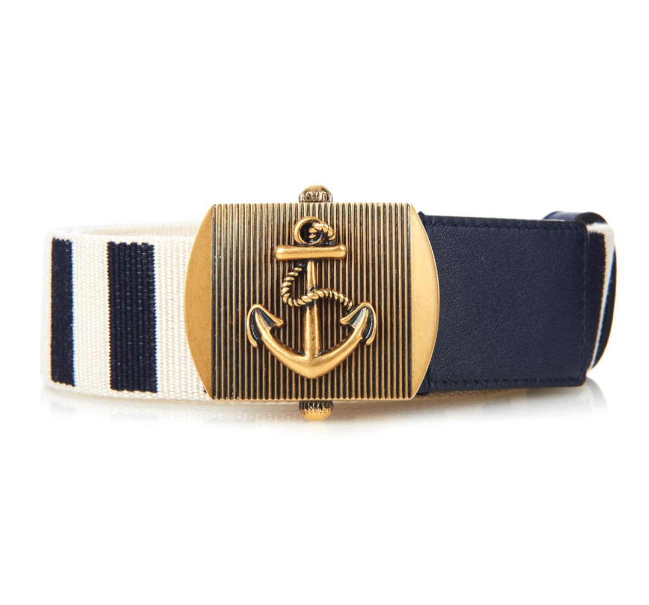 Gucci Anchor Buckle Belt Striped Navy Blue/White