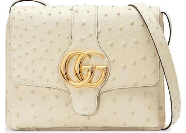7188a0cf4b44 TOP. Gucci Arli Shoulder Bag Ostrich Medium Ivory