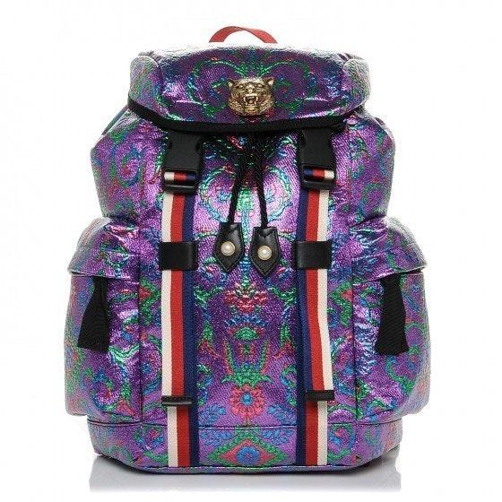 Gucci Brocade Backpack Brocade Print Web Detail/ Lion Medallion Small Multicolor
