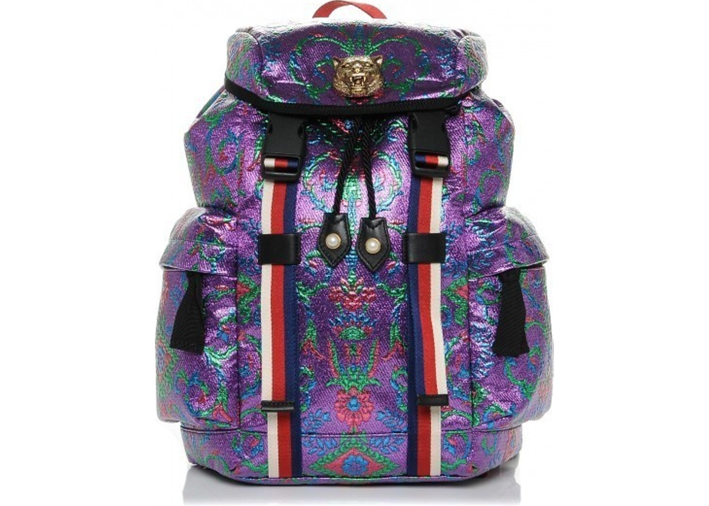 f17fbdac96c Gucci Brocade Backpack Brocade Print Web Detail  Lion Medallion ...