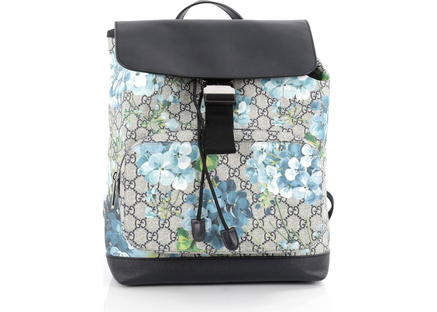 4b90abcda4b1cb Gucci Buckle Backpack GG Monogram Blooms Print Medium Blue/Black