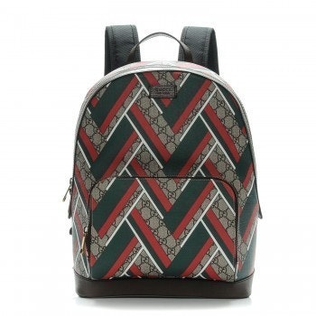 Gucci Chevron Print Backpack GG Supreme Monogram Medium Brown/Green/Red