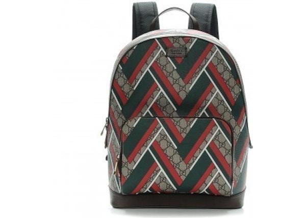 3e27012504c7 Gucci Chevron Print Backpack GG Supreme Monogram Medium Brown/Green/Red